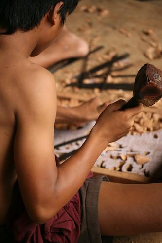 hammering a chisel (back)