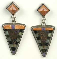 Cheshire Cat Earrings (2Roses Jewelry) Tags: california art triangles stonework intarsia lapidary inlay 2roses