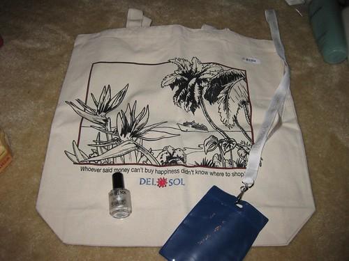 Del Sol tote bag, lanyard, and nail polish