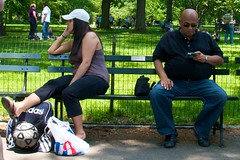 sunglasses bench couple centralpark cellphone cap volleyball ephemeralartifacts culturalbehavior