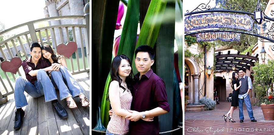 Castle bridge Pixie Hollow and rancho de Zocalo Engagement Session Disneyland