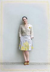Beige (Elsita (Elsa Mora)) Tags: light selfportrait color smile happy necklace outfit beige background remix skirt blouse jacket wardrobe elsa mora elsita
