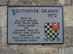 Photo of William Newton and John Evelyn grey plaque