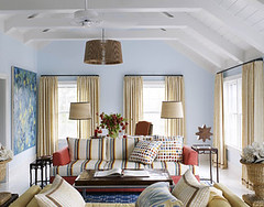Beach cottage style: Blue living room + playful pattern mix + 'Clear Skies' by Benjamin Moore (SarahKaron) Tags: house inspiration beach home island design pattern interior stripes polkadots textile nantucket decorating dots decor blueroom upholstery housebeautiful bluepaint nobilis benjaminmoore summery bluelivingroom blueinterior leejofa