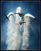 Downhill Stretch (Cygnus~X1 - Visions by Sorenson) Tags: blue ohio red summer sky usa white clouds plane canon airplane rebel action fb aircraft smoke july formation airshow 2008 propeller dayton aeroshell aerobatic vandalia monoplane beautifulshot ef70200mmf28lisusm xti aeroshellaerobaticteam vectren northamericanat6texan craigsorenson 20090618051106z