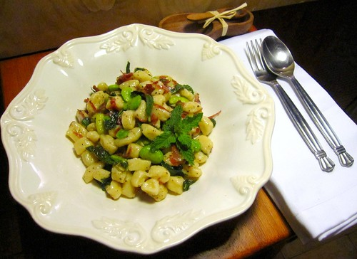 Little Gnocchi with Favas, Bresaola and Mint Brown Butter