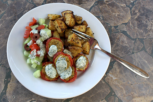 Falafel-Stuffed Roasted Tomatoes