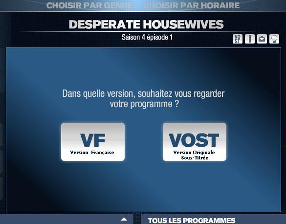 Choix de la VF ou VOST sur M6Replay