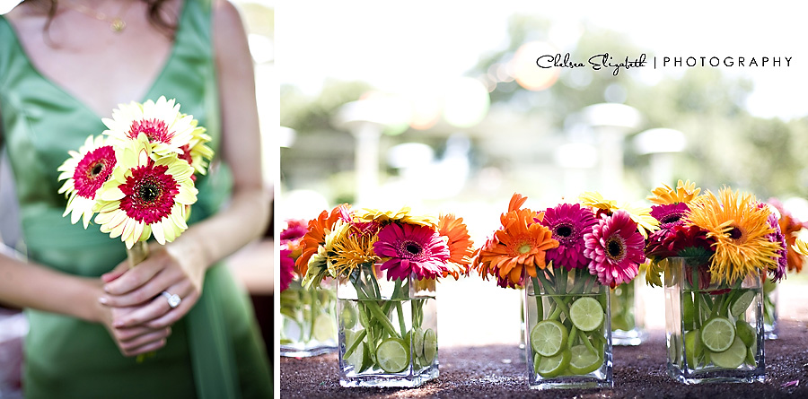 yellow and red gerber daisy bridesmaids bouquet with green dress and different colors center pieces with limes