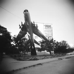 perpetual takeoff (varvara lozenko) Tags: bw 6x6 airplane holga sevastopol crimea крым севастополь любимовка lyubimovka