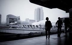 * (Fa.bian) Tags: city blue people urban woman man cold public skyscraper train buildings advertising thailand waiting asia highheels bangkok transport platform center passengers southeast skytrain siam bts sigma30mmf14exdchsm canoneos50d bildermacher fabiangehweiler