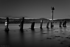Navy Bank (kittacabe) Tags: ireland sea irish white black mountains water beautiful landscape mono bay pier big long exposure decay tide estuary lee inlet wreck posts density stopper neutral monochrone