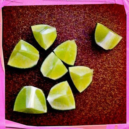 Limes, sliced