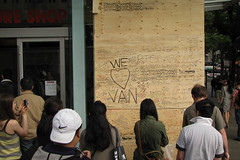 WE <3 VAN (MikeWu) Tags: hockey vancouver nhl riot downtown cleanup canucks plywood wallofshame greatwallofvancouver
