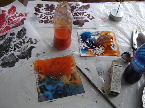 Printing and painting.