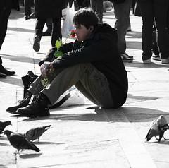 owner of a lonely heart... (Blue Spirit - heart took control) Tags: street venice boy stilllife streetphotography fiore venezia ragazzo veneto scattifotografici anzipiazza