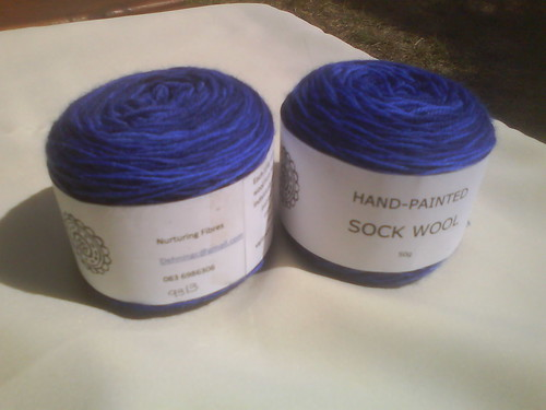 Blue sock wool.