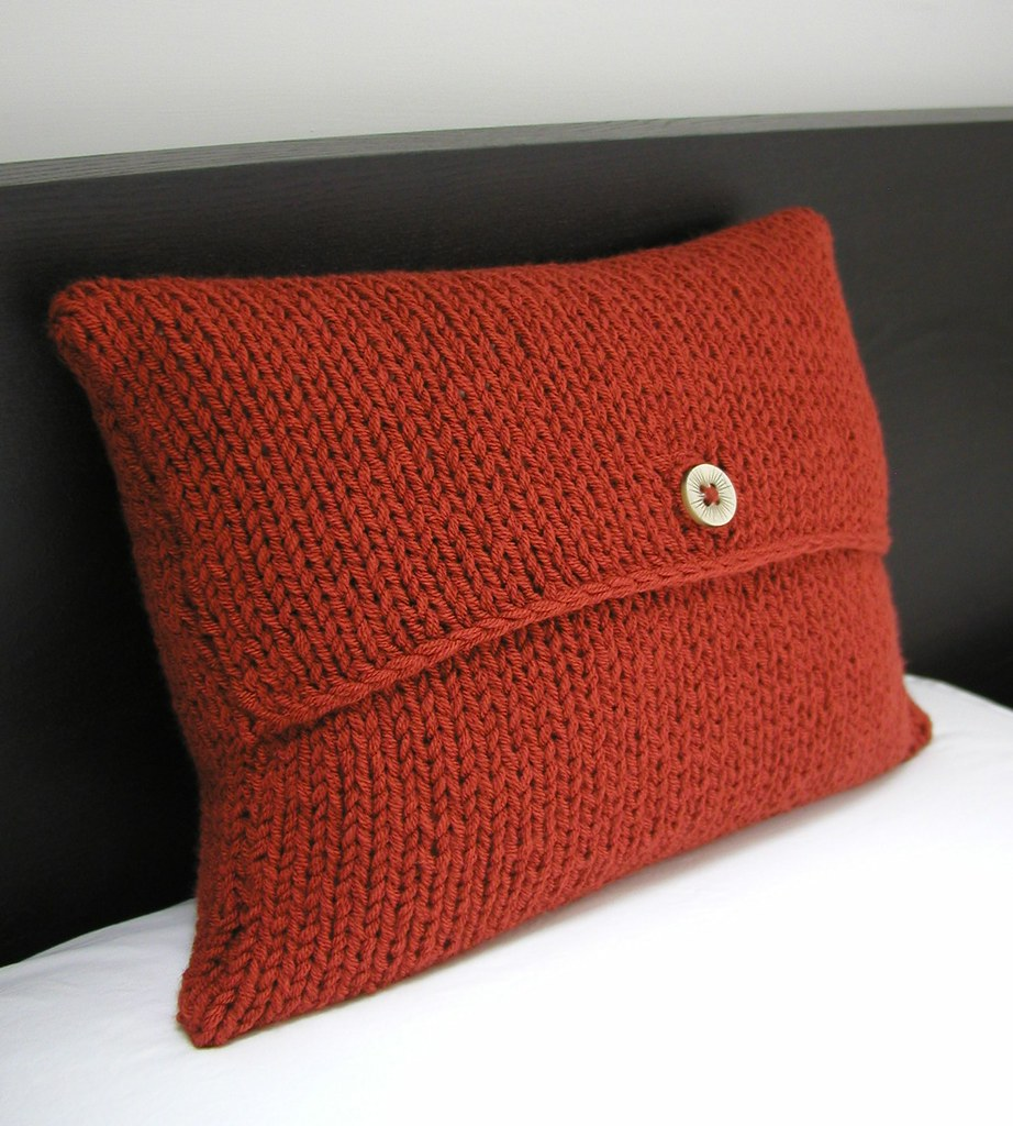 cushion cover hand knitted things tags uk rust hand handmade cinnamon knit things