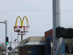 God Hates McDonalds #4 (rycordell) Tags: road trip food sign restaurant highway texas arch fast mcdonalds damaged destroyed
