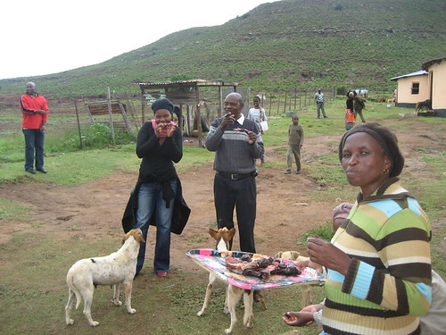 Fikiswa, Themba and Nokulunga eating Mr Sheep