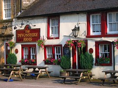 The Devonshire Arms in Hartington, Derbyshire (UGArdener) Tags: england english june outdoors pub village unitedkingdom britain derbyshire meal summertime pint petunias windowboxes devonshirearms hartington englishtravel