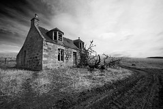Ardoch (James_at_Slack) Tags: bw abandoned farmhouse rural scotland track aberdeenshire cottage ruin derelict decayed fallentrees ardoch excellentcapture glengairn storybehindimage