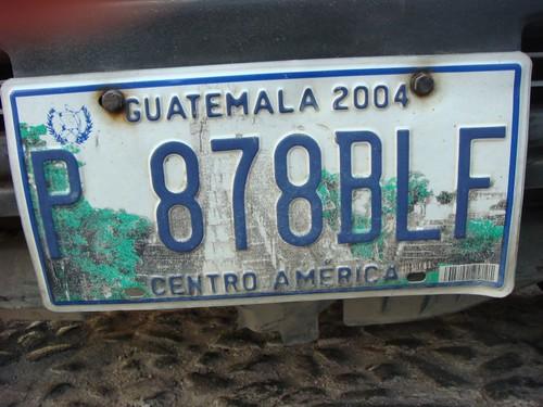 Licence plate, Guatemala.