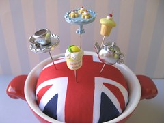Proper Tea Pincushion (Pinks & Needles (used to be Gigi & Big Red)) Tags: uk blue red white london cookies fruit silver ceramic lemon cherries tea unitedkingdom sewing flag bowl polymerclay cupcake jar teapot british etsy teacup unionjack sculpted lemoncurd englad gigiminor pinksandneedles pintopper