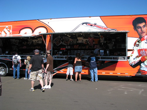 Joey Loganos merchandise trailer was the LEAST populated one.  The most populated ones were of course Jr, Gordon and Stewart.