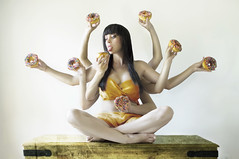 Divine Donut Goddess (Daneli) Tags: girls woman selfportrait color art me girl beautiful yoga photoshop self hands arms artistic florida chocolate kali humor goddess dana surreal humour sprinkles fantasy donuts octopus doughnuts sari verobeach daneli thesearedunkindonuts thanksbenforthetilte goddessoftime compulsivefolksonomygraffiti