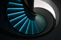 up or down the blue stairs (ati sun) Tags: blue black stairs germany spiral staircase winding blau schwarz circular wendeltreppe glashtte uhrenmuseum