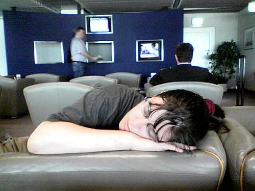 Jane asleep in Düsseldorf business lounge