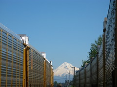 Train, Mt Hood, Train... (Dialed-in!) Tags: blue sky snow oregon train canon portland mt view angle or telephone trains clear cap hood pdx poles unusual freight between g9 thechallengefactory