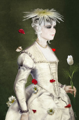 Mademoiselle Milou - Miss Milou (vinciane.c) Tags: red woman white flower art rose painting costume tulip springtime younggirl