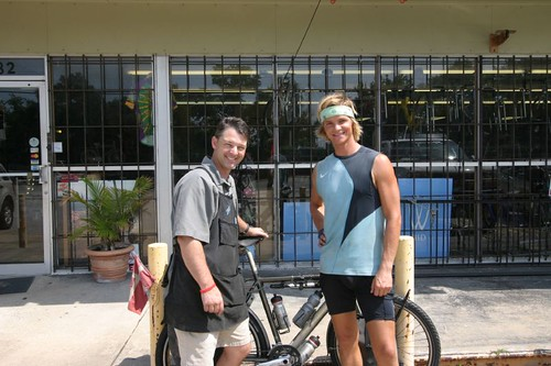 Bike mechanic Robbie and I. Pensacola, Florida.