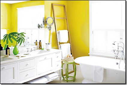 Yellow + white bathroom + green accents: 'St. Elmo's Fire' by Benjamin Moore