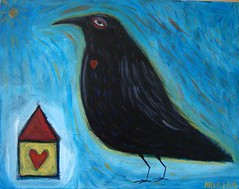 Staring Into the Great Beyong (Spiral Forest Studio) Tags: house bird art animal painting heart outsider expressionism crow raven primitive