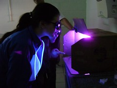 Luz Negra - black light (Meus Olhos - gracias!!) Tags: light brazil black color luz brasil uv science class chemistry laboratory cor negra aula classe qumica laboratrio