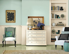Beautiful blue + white living room + painted floors: Martha Stewart Paint (xJavierx) Tags: blue design paint turquoise teal interior livingroom decorating marthastewart dresser decor powderblue blueroom skyblue paneling blueandwhite bluepaint wainscoting chairrail paintcolors dadorail wingchair traditionalhome builtinbookshelves paintedfloors blueinterior paintinspiration