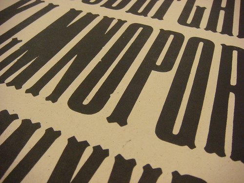 Specimens of wood type held at Shooting Star Press