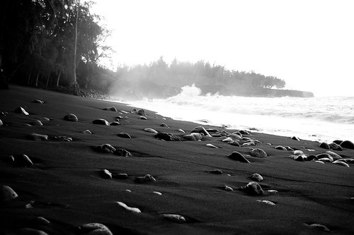 black sand beach at dawn, big island