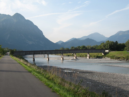 Border bridge crossing the river Rhine between Liechtenstein and Switzerland
