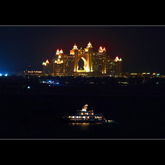 Atlantis at night (JannaPham) Tags: trip travel light sea holiday water colors night canon eos hotel boat dubai palm atlantis emirates 5d markii project365 88365 jannapham