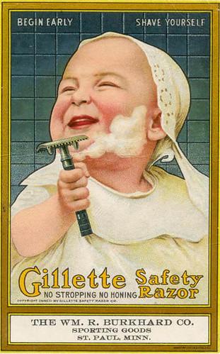 Anuncio antiguo de un bebé afeitándose con una maquinilla gillette