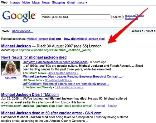 Torn Between Two Michael Jackson's, Google Takes Less Popular One