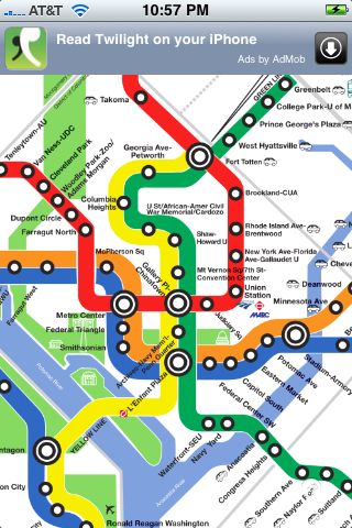 Washingon DC Metro Map on my iPhone