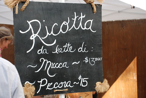 ricotta sign at greenmarket