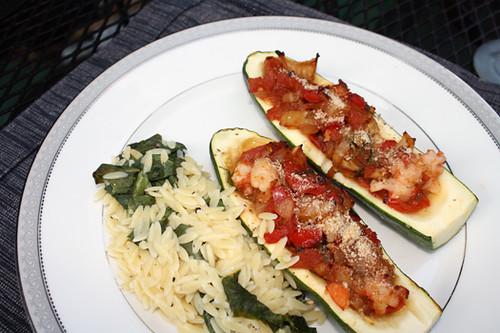Mediterranean Stuffed Zucchini with Feta-Pepper Sauce 3