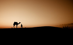 Every journey begins, with but a small step. (Ashu Mittal) Tags: sunset india art silhouette interestingness skies desert indian horizon silhouettes explore camel indians 1855mm 2009 jaisalmer flickrexplore d40 indiankids explored indiancolors ashumittal ashumittalphotography donotcopyitwillbebadkarma