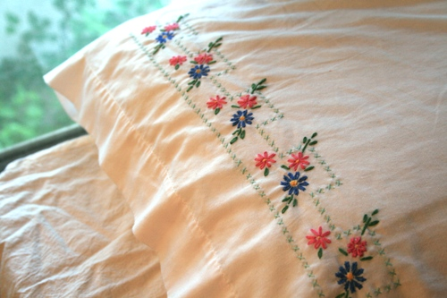 an embroidered pillowcase